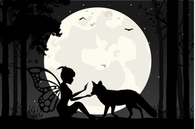 fairy and wolf silhouette