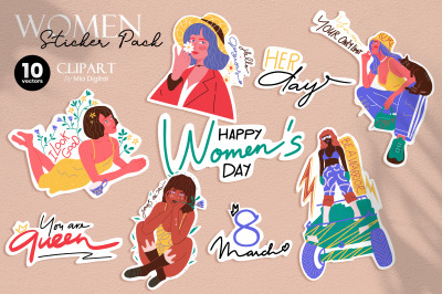 Women Empowerment Sticker Pack - 8 March Happy Women's Day Vector Set