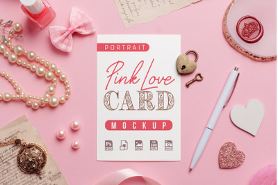 Pink Love - Portrait Card Mockup