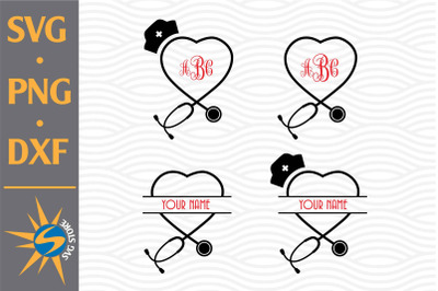 Heart Stethoscope Monogram SVG, PNG, DXF Digital Files Include