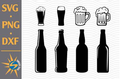 Beer Bottle, Beer Mugs SVG, PNG, DXF Digital Files Include