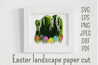 Easter paper cut landscape. Easter shadow box template.