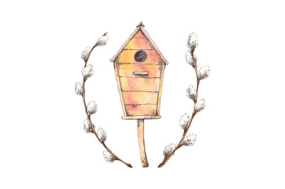 Birdhouse with willow branches - spring watercolor illustration