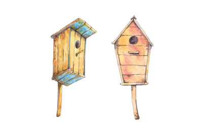 Birdhouses hand drawn in watercolor