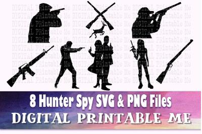 Hunter SVG,  Spy Silhouette bundle, PNG, clip art, 8 Digital files, se