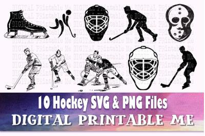 Hockey svg bundle, silhouette, PNG, clip art, 10 Digital images, sport