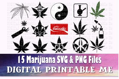 Weed svg, Cannabis silhouette bundle, 15 images, Marijuana plant, bong