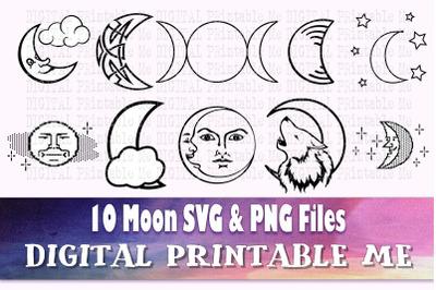 Moon svg, silhouette bundle, PNG, clip art, 10 Digital, Crescent Moon,