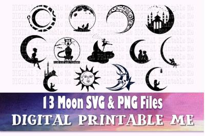 Moon svg, silhouette bundle, PNG, clip art, 13 Digital, Crescent Moon,