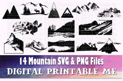 Mountain Silhouette, Landscape SVG bundle, skyline PNG,  Clip Art Pack