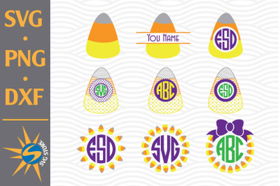 Candy Corn Monogram SVG, PNG, DXF Digital Files Include