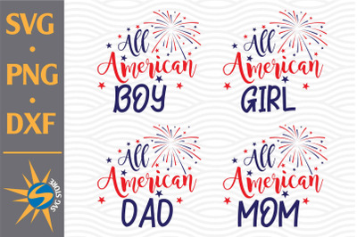 All American Family SVG, PNG, DXF Digital Files Include