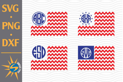 Chevron US Flag Monogram SVG, PNG, DXF Digital Files Include
