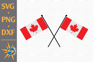 Canada Flag Crossed SVG, PNG, DXF Digital Files Include