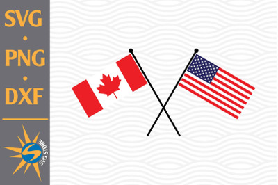 Canada US Flag Crossed SVG, PNG, DXF Digital Files Include