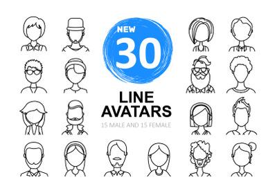 People avatars 30 line icons