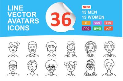 avatars line icons people profie