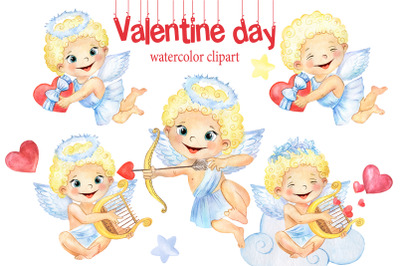 Happy valentine's day clipart. Cute angels cupids, baby angels.