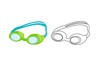 Swimming Glasses Fill Outline Icon