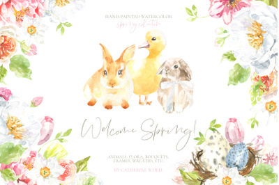 Welcome Spring! Watercolor Easter Illustrations clipart