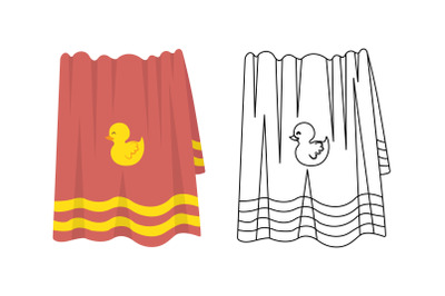 Towel Swimming Pool Fill Outline Icon