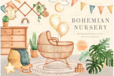 Bohemian Nursery Watercolor Clip Art