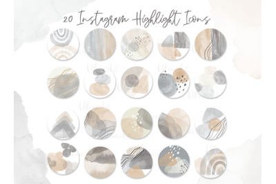 Neutral Abstract watercolor Highlight Covers Modern Instagram Icons