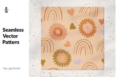 Valentine rainbows seamless pattern