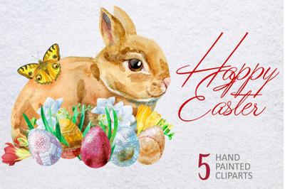 Watercolor Happy Easter 2