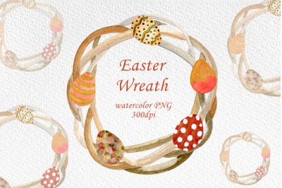 Watercolor Easter wreath with Easter eggs