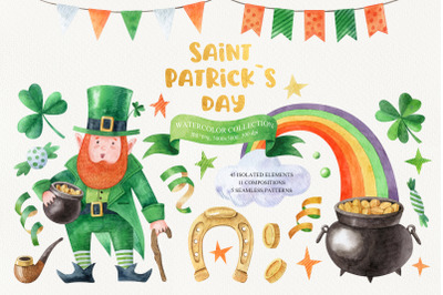Saint Patrick`s Day Watercolor Collection