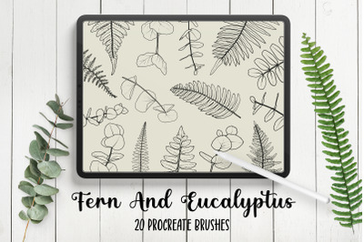 Fern And Eucalyptus Procreate Stamp Brushes