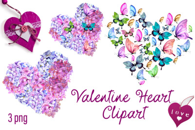Valentines Day Hearts, Watercolor pink  Hydrangeas and Butterflies