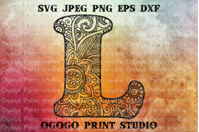 Alphabet Letter L SVG, Initial svg, Zentangle SVG, Mandala svg