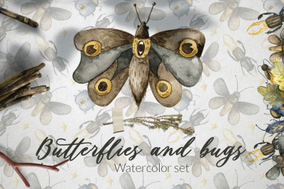 Butterflies and bugs Watercolor set