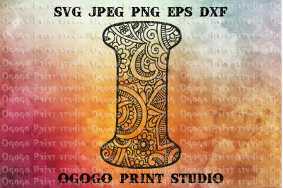 Alphabet Letter I SVG, Initial svg, Zentangle SVG, Mandala svg