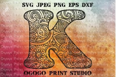 Alphabet Letter K SVG, Initial svg, Zentangle SVG, Mandala svg