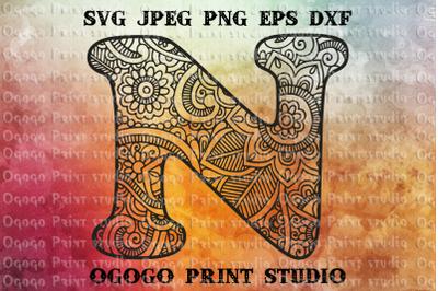 Alphabet Letter N SVG, Initial svg, Zentangle SVG, Mandala svg