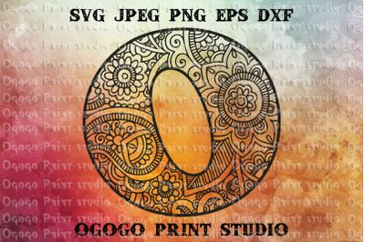 Alphabet Letter O SVG, Initial svg, Zentangle SVG, Mandala svg