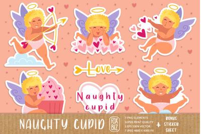 Naughty cupid, cherub. St Valentine's Day clip art.