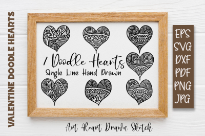 7 Mandala Doodles Heart Single line Sketch Design