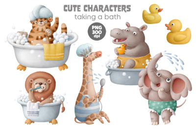 Cute animals characters taking a bath png clipart