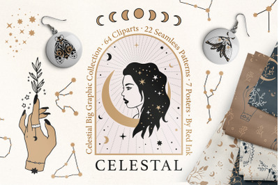 Celestial Clipart & Pattern Big Feminine Pack
