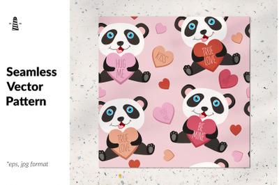 Love panda bear seamless pattern