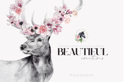 Animal Portraits With Flowers Wall Art Posters Animal Illustrations