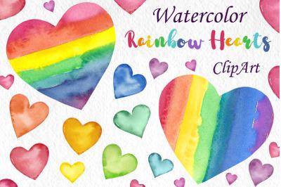 Watercolor Rainbow hearts clipart