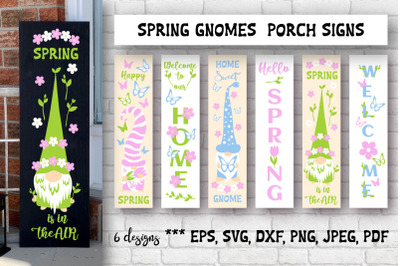 Spring gnomes porch signs bundle. SVG cutting files.