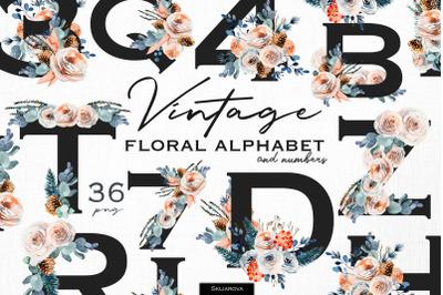 Vintage floral alphabet