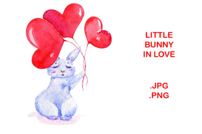 Cute Bunny Watercolor illustration for Valentine's Day cards