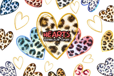 Leopard Hearts Clipart. Valentines Print. Valentines day